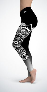 Women's leggings with a raised waist Mandala