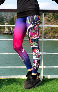Luxury women's sports leggings with a high Dragoon waist