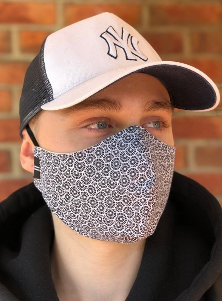 Face mask-Mask Lux-Gray with pocket